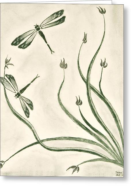 Dragonflies Greeting Card by Sean Mitchell