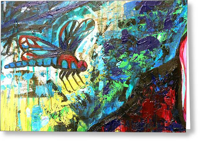 Dragonfly Abstract 1 Greeting Card by Genevieve Esson