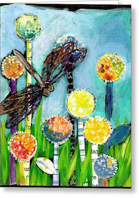 Dragonfly And The Dandies Greeting Card