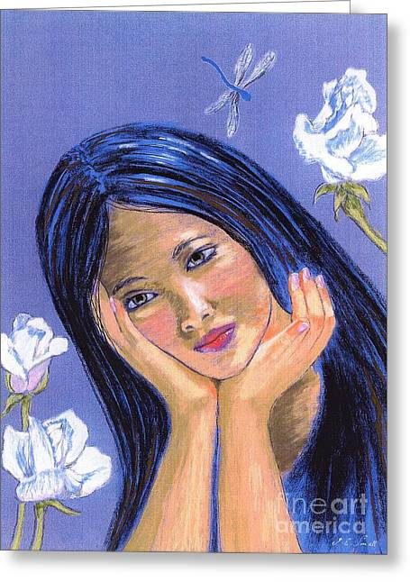 Greeting Card featuring the painting Dragonfly Dreamer by Jane Small