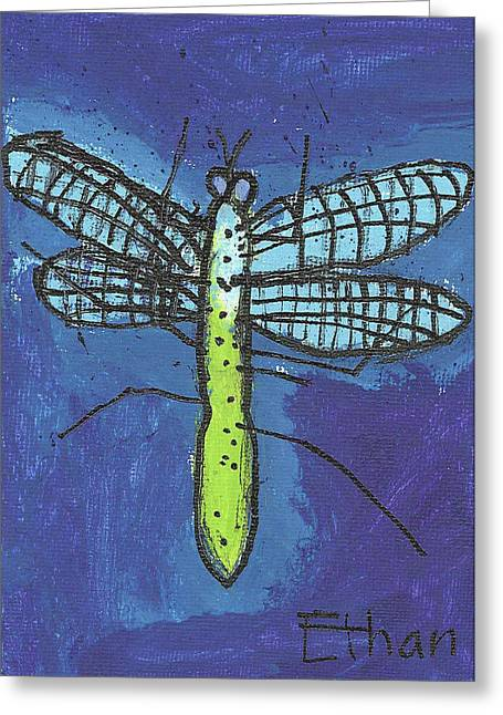 Greeting Card featuring the painting Dragonfly by Fred Hanna