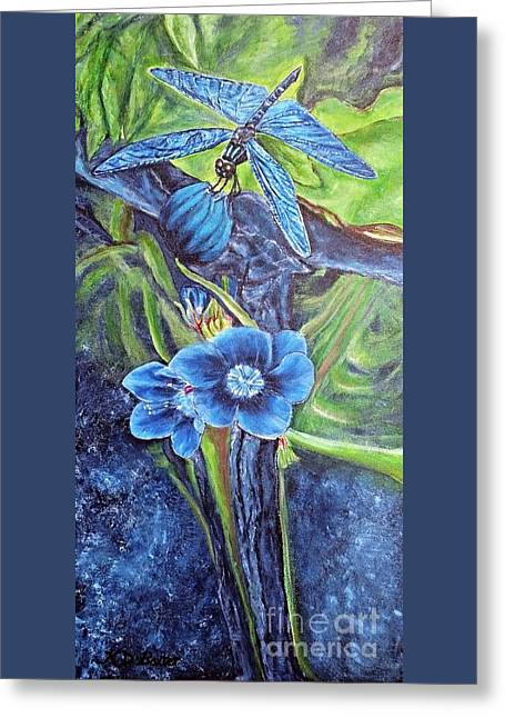 Dragonfly Hunt For Food In The Flowerhead Greeting Card