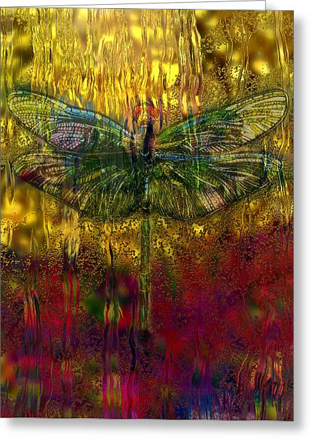 Dragonfly - Rainy Day  Greeting Card by Jack Zulli