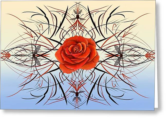 Dragonfly Rose Greeting Card