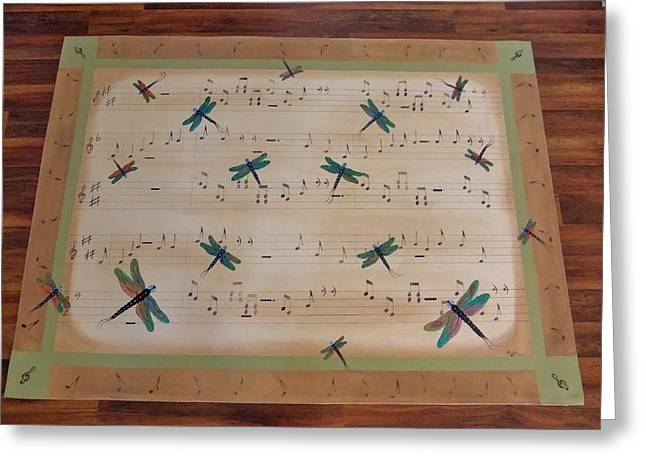 Greeting Card featuring the painting Dragonfly Symphony 64x45 Art For Your Floor by Cindy Micklos