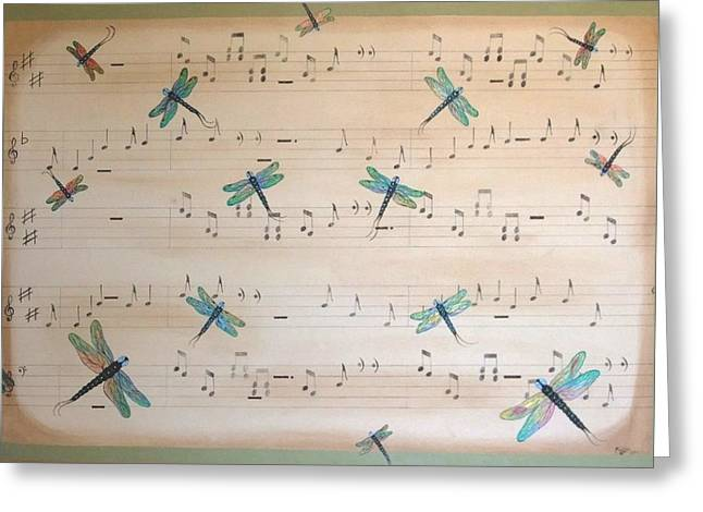 Greeting Card featuring the painting Dragonfly Symphony by Cindy Micklos
