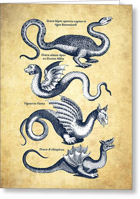 Dragons - Historiae Naturalis  - 1657 - Vintage Greeting Card by Aged Pixel