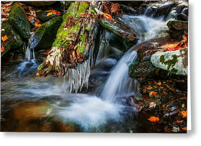 Dragons Teeth Icicles Waterfall Great Smoky Mountains Painted  Greeting Card by Rich Franco