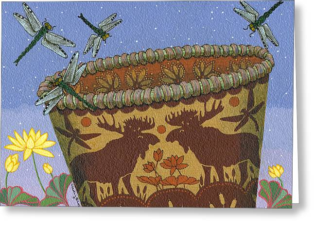 Greeting Card featuring the painting Dragonfly - Cohkanapises by Chholing Taha