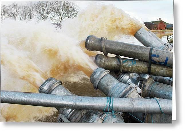 Draining Somerset Levels Floods Greeting Card