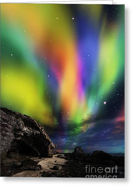 Dramatic Aurora Greeting Card by Atiketta Sangasaeng