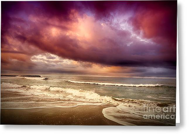 Greeting Card featuring the photograph Dramatic Beach by David Millenheft