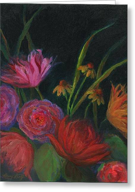 Dramatic Floral Still Life Painting Greeting Card