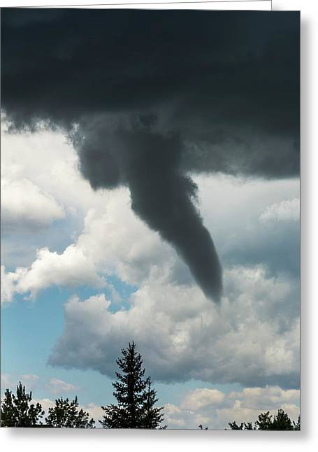 Dramatic Funnel Cloud Created In Dark Greeting Card by Michael Interisano