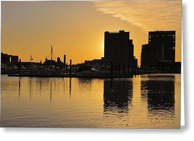 Dramatic Golden Sunrise Baltimore Inner Harbor  Greeting Card by Marianne Campolongo