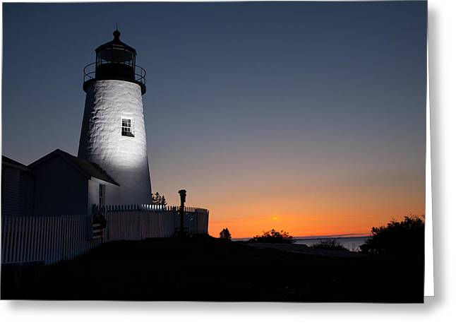 Dramatic Lighthouse Sunrise Greeting Card