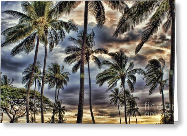 Dramatic Maui Sunset Greeting Card by Peggy Hughes