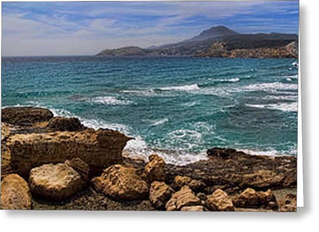 Dramatic Ocean Panorama On Milos Island Greece Greeting Card