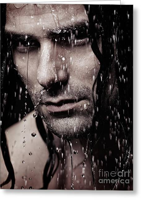 Dramatic Portrait Of Young Man Wet Face With Long Hair Greeting Card by Oleksiy Maksymenko