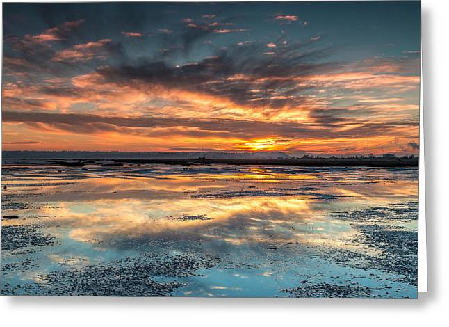 Dramatic Shoreline Sunset Greeting Card by Pierre Leclerc Photography