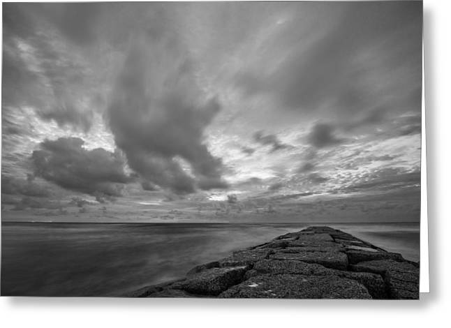 Dramatic Skies Over Galveston Jetty Greeting Card