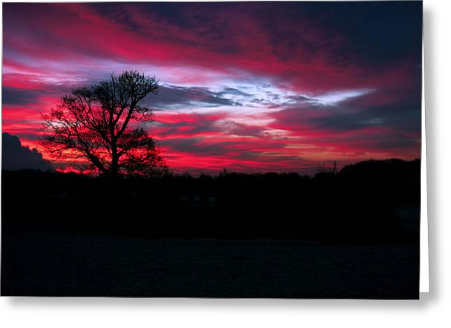 Dramatic Sky At Daybreak. Greeting Card