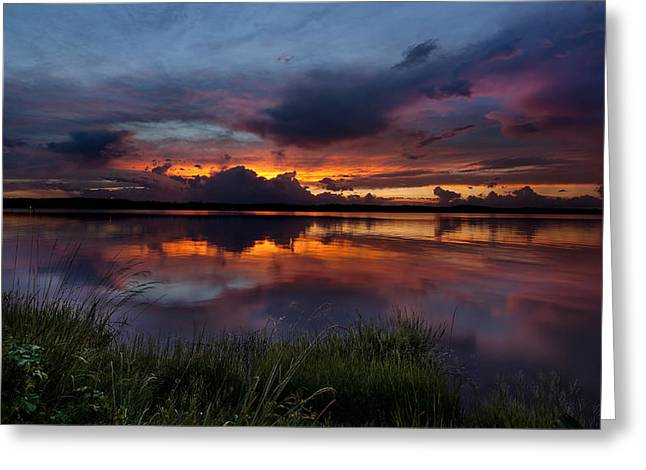 Dramatic Sunset At The Lake Greeting Card