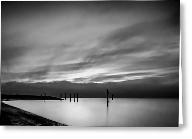 Dramatic Sunset In Black And White Greeting Card by Eva Kondzialkiewicz