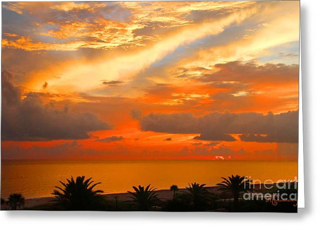 Dramatic Sunset Greeting Card by Mariarosa Rockefeller