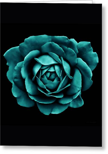 Dramatic Teal Green Rose Portrait Greeting Card by Jennie Marie Schell