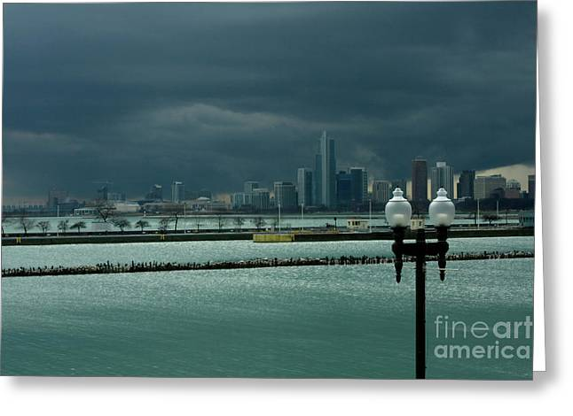 Dramatic Thunderstorm Over Navy Pier Chicago Greeting Card