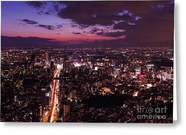 Dramatic Twilight Scenery Of Tokyo City Landscape And Highway Greeting Card by Oleksiy Maksymenko