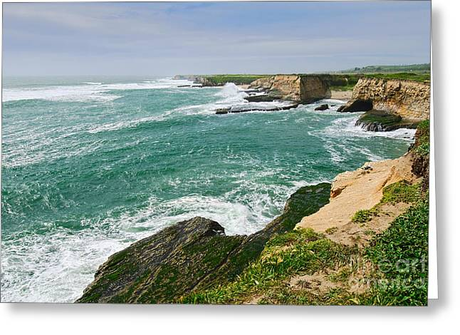 Dramatic Views Of The Coastal Bluffs Of Wilder Ranch State Park In Santa Cruz. Greeting Card by Jamie Pham