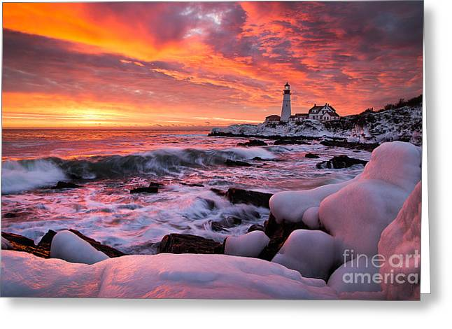Dramatic Winter Sunrise At Portland Head Light Greeting Card by Benjamin Williamson