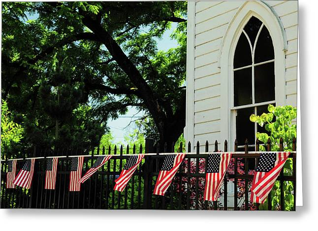 Draped Flags On Fence Of Church, July Greeting Card