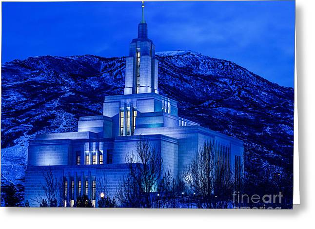 Draper Mormon Lds Temple Winter Dusk Greeting Card by Gary Whitton