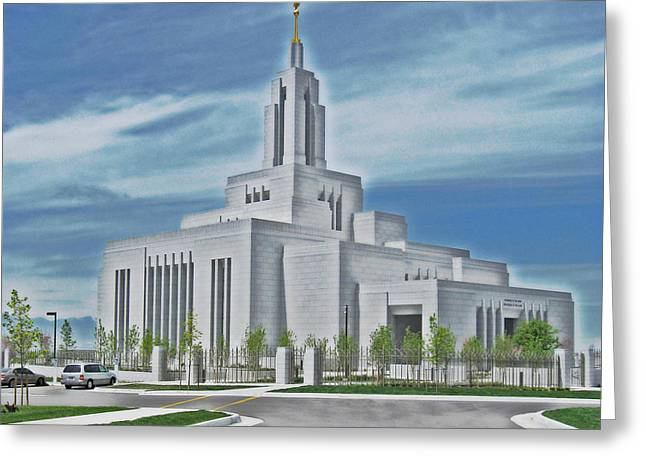 Draper Temple Greeting Card by VaLon Frandsen