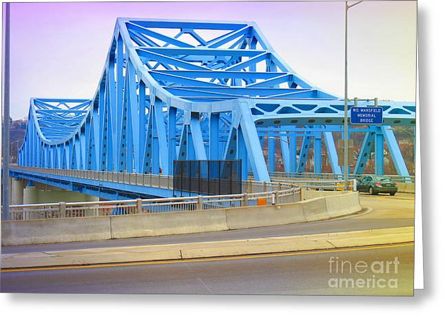 Dravosburg Bridge Greeting Card by Shelly Weingart