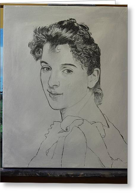 Greeting Card featuring the painting drawing for Gabrielle Cot portrait by Glenn Beasley