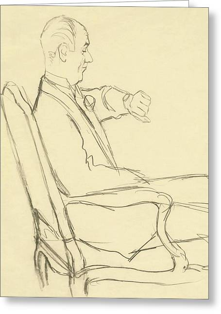 Drawing Of Man Looking At His Watch Greeting Card
