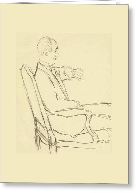 Drawing Of Man Looking At His Watch Greeting Card by Carl Oscar August Erickson