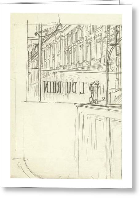 Drawing Of A Bar And Front Window Of Hotel Du Rhin Greeting Card