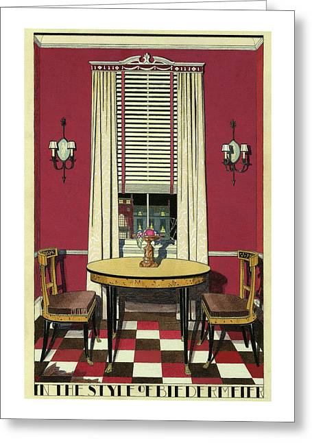 Drawing Of A Breakfast Room Greeting Card