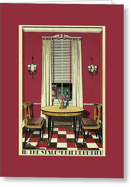 Drawing Of A Breakfast Room Greeting Card by Harry Richardson