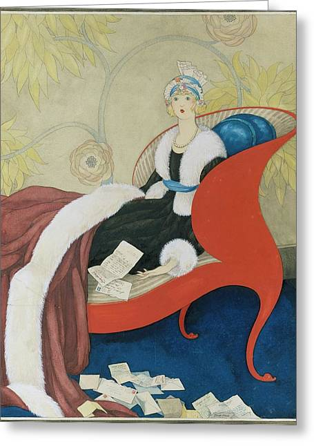 Drawing Of A Woman On A Chaise Surrounded Greeting Card by George Wolfe Plank