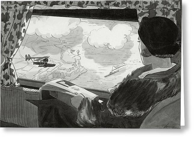 Drawing Of Female Passenger Flying Over Havana Greeting Card by  Lemon