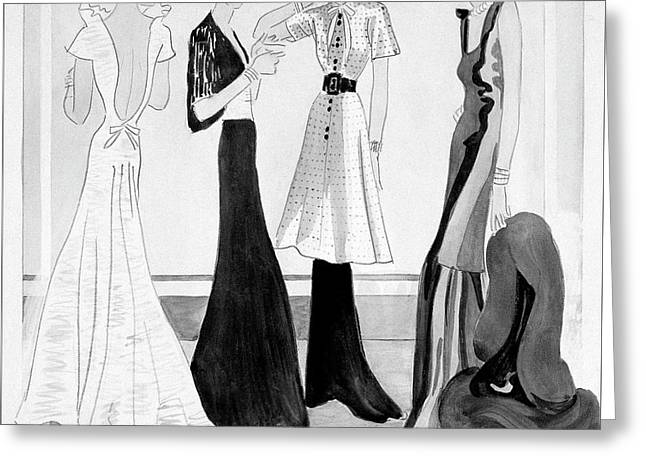 Drawing Of Four Well-dressed Women Greeting Card by Eduardo Garcia Benito