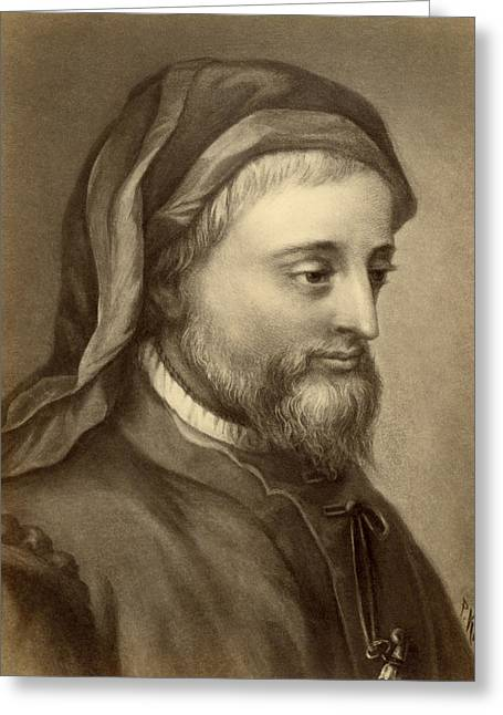 Drawing Of Geoffrey Chaucer Greeting Card by Underwood Archives