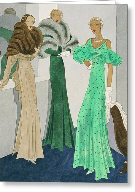 Drawing Of Models Wearing Wool Evening Dresses Greeting Card by Eduardo Garcia Benito