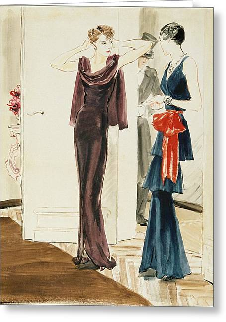 Drawing Of Two Women Wearing Mainbocher Dresses Greeting Card by Ren? Bou?t-Willaumez